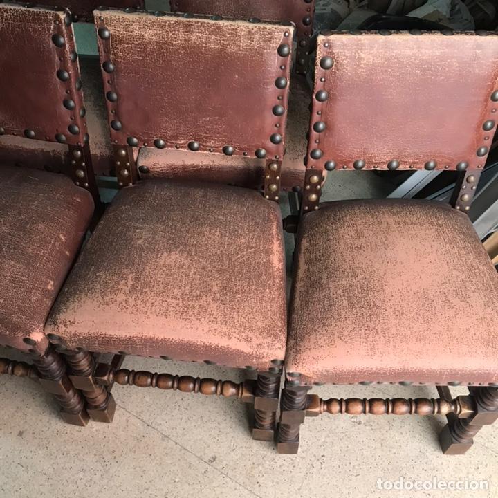Antigüedades: Lote 6 sillas comedor madera maciza vintage - Foto 2 - 171347478