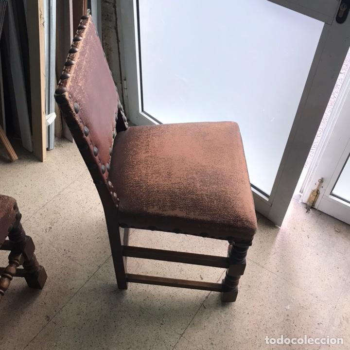 Antigüedades: Lote 6 sillas comedor madera maciza vintage - Foto 3 - 171347478