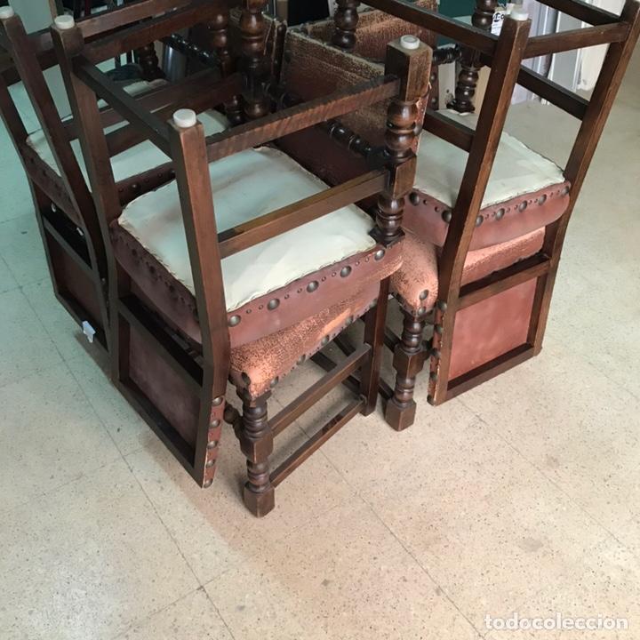 Antigüedades: Lote 6 sillas comedor madera maciza vintage - Foto 4 - 171347478
