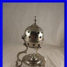 Antigüedades: INCIENSARIO DE METAL PLATEADO. Lote 171360868