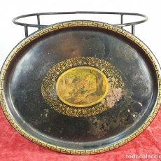 Antigüedades: MESA AUXILIAR. METAL LACADO. SOPORTE DE METAL. ESTILO ISABELINO. SIGLO XIX. . Lote 171393995