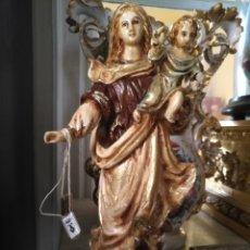 Antigüedades: IMAGEN DE LA VIRGEN DEL CARMEN CON NIÑO JESUS 2248 GRAMOS - 32 CM ALTURA - CON ESCAPULARIOS. Lote 171412550