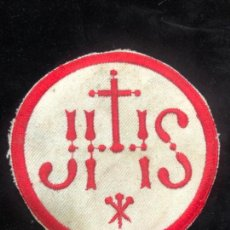 Antigüedades: ESCUDO BORDADO JHS - MEDIDA 9CM - RELIGIOSO - SEMANA SANTA. Lote 171436550