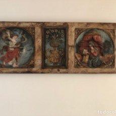 Antigüedades: ANUNCIACIÓN. ESCUELA CATALANA DEL S. XVI. BAJORRELIEVE EN MADERA TALLADA Y POLICROMADA.. Lote 171439357