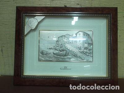 Antigüedades: Dos cuadros de paisajes italianos en plata de 925milésimas. - Foto 2 - 171441463