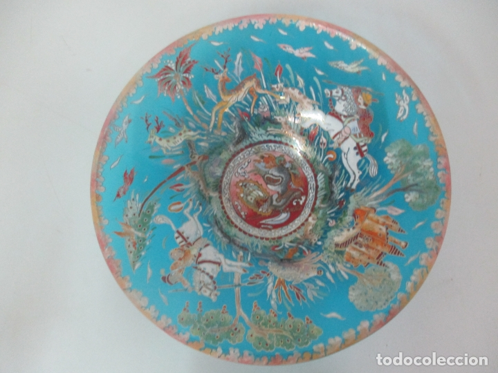 Antigüedades: Bonito Centro de Mesa - Cristal Azul Esmaltado - Firma Royo - Pintado a Mano - 36 cm Diámetro - Foto 15 - 171441743