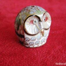 Antigüedades: BÚHO EN BRONCE ESMALTADO CLOISONNE PIEZA DE COLECCIÓN. Lote 171486892