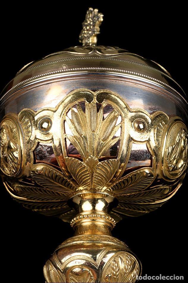 Antigüedades: Antiguo Copón en Plata Dorada. Francia, Circa 1860 - Foto 16 - 171507828