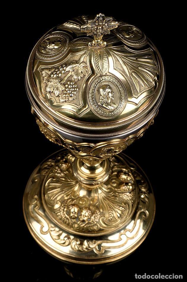 Antigüedades: Antiguo Copón en Plata Dorada. Francia, Circa 1860 - Foto 20 - 171507828