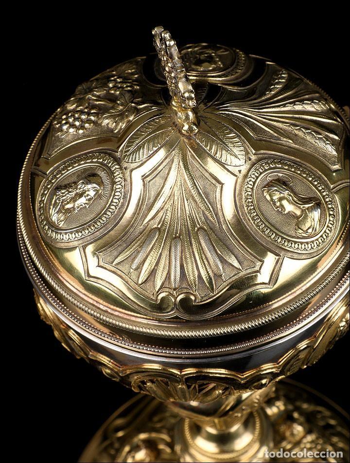 Antigüedades: Antiguo Copón en Plata Dorada. Francia, Circa 1860 - Foto 24 - 171507828