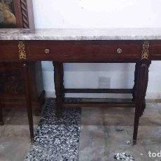 Antigüedades: CONSOLA TAPA DE MÁRMOL 3 CAJONES. Lote 171515582