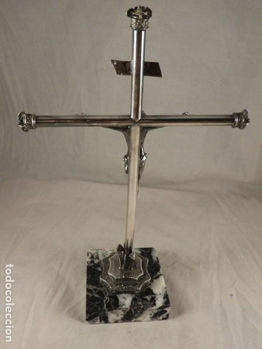 Antigüedades: SANTISIMO CRISTO DE LA EXPIRACION CACHORRO EN PLATA MACIZA SOBRE MARMOL - Foto 6 - 171520135
