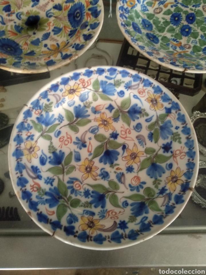 Antigüedades: Lote antiguos platos manises . Talavera triana puente - Foto 2 - 171525358