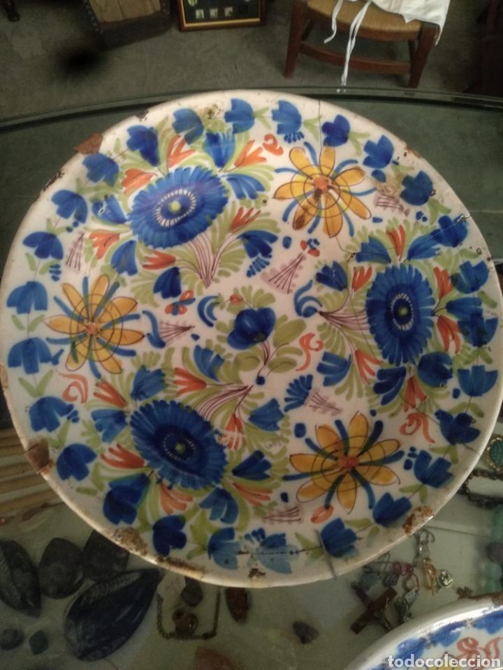 Antigüedades: Lote antiguos platos manises . Talavera triana puente - Foto 3 - 171525358