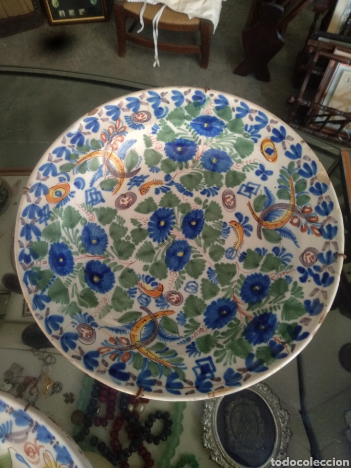 Antigüedades: Lote antiguos platos manises . Talavera triana puente - Foto 4 - 171525358