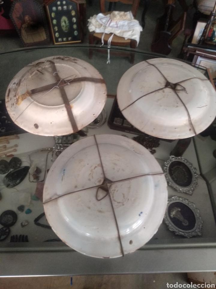 Antigüedades: Lote antiguos platos manises . Talavera triana puente - Foto 5 - 171525358