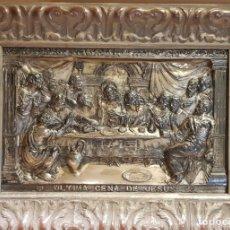 Antigüedades: ANTIGUO CUADRO DE LA ÚLTIMA CENA DE JESÚS EN RELIEVE / COBRE PLATEADO / MITAD S. XX / 62 X 47 CM. Lote 171535933