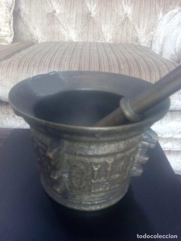 Antigüedades: IMPRESIONANTE Y DECORADO ALMIREZ DE BRONCE - Foto 3 - 171544592
