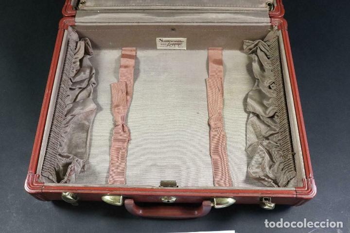 Antigüedades: ANTIGUA MALETA DE LUJO SANSONITE PIEL Y TELA DE SEDA INTERIOR PIEZA UNICA 39 x 31 x 17,5 cm - Foto 4 - 171551099