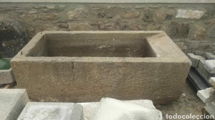 Antigüedades: Impresionante pilon pila fregadero lavadero antiguo de piedra de granito de una pieza gran medida - Foto 2 - 171551504