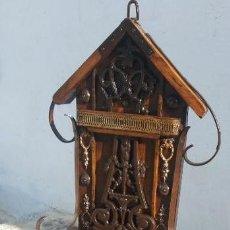 Antigüedades: LIMOSNERO DE MADERA, METAL Y FORJA. Lote 171568090