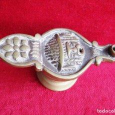 Antigüedades: CANDIL, LÁMPARA DE ACEITE EN BRONCE MACIZO CON MÁSCARA, RARO DE COLECCIÓN. Lote 171578819
