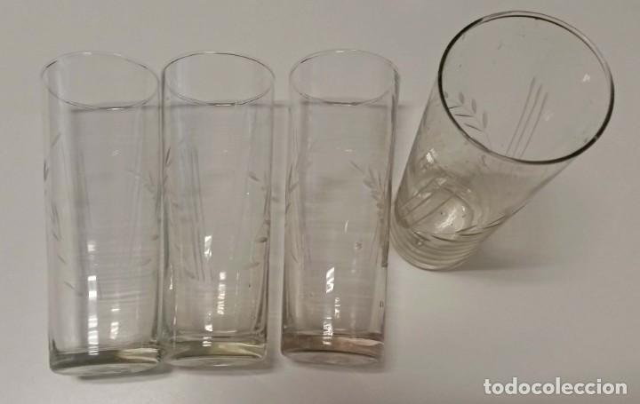 ANTIGUOS VASOS TALLADOS ALTOS (Antigüedades - Cristal y Vidrio - Otros)
