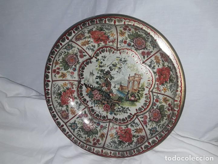 Antigüedades: Antiguo centro de mesa frutero litografiado Daher Decoration Ware England años 60/70 - Foto 2 - 171604380