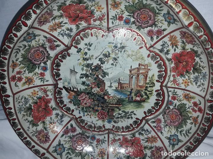 Antigüedades: Antiguo centro de mesa frutero litografiado Daher Decoration Ware England años 60/70 - Foto 3 - 171604380