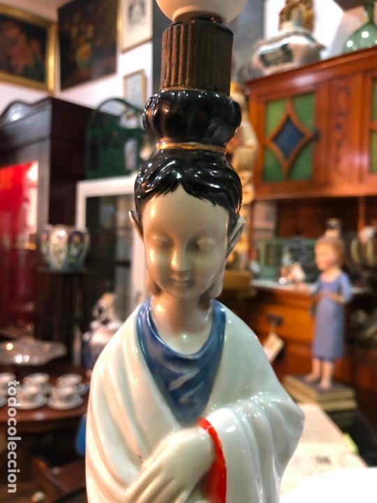 Antigüedades: FANTASTICA LAMPARA CERAMICA MANISES MODELO ORIENTAL CHINA - MEDIDA 53 CM - Foto 3 - 171624613