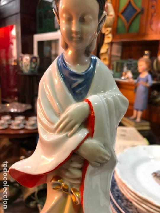 Antigüedades: FANTASTICA LAMPARA CERAMICA MANISES MODELO ORIENTAL CHINA - MEDIDA 53 CM - Foto 4 - 171624613