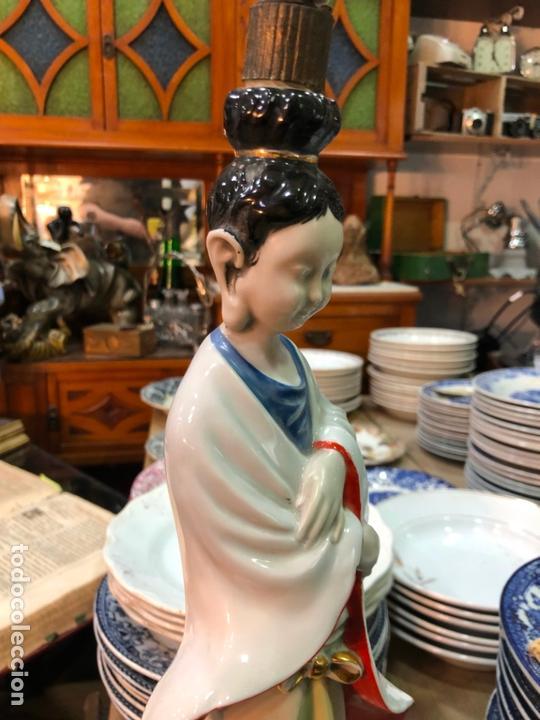 Antigüedades: FANTASTICA LAMPARA CERAMICA MANISES MODELO ORIENTAL CHINA - MEDIDA 53 CM - Foto 7 - 171624613