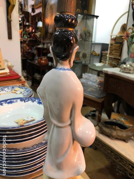 Antigüedades: FANTASTICA LAMPARA CERAMICA MANISES MODELO ORIENTAL CHINA - MEDIDA 53 CM - Foto 10 - 171624613