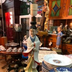 Antigüedades: FANTASTICA LAMPARA CERAMICA MANISES MODELO ORIENTAL CHINA - MEDIDA 53 CM. Lote 171624613