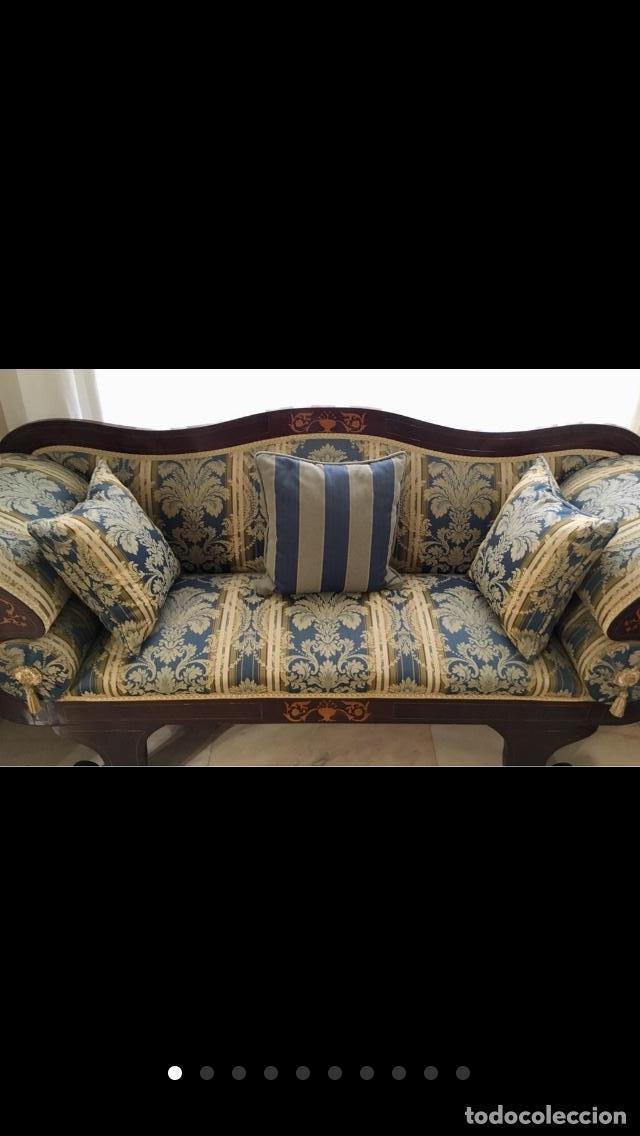 Antigüedades: Sofá tapizado con marquetería - Foto 10 - 171538733