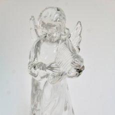 Antigüedades: FIGURA DE CRISTAL, ANGEL CON ARPA. S.XX.. Lote 171684868