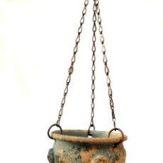 Antigüedades: MACETEROS COLGANTES DE BARRO. Lote 171697358