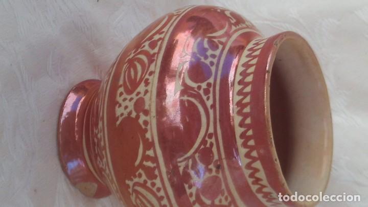 Antigüedades: bote en ceramica de reflejo siglo xviii-xix manises - Foto 2 - 171703504