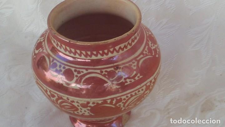 Antigüedades: bote en ceramica de reflejo siglo xviii-xix manises - Foto 3 - 171703504
