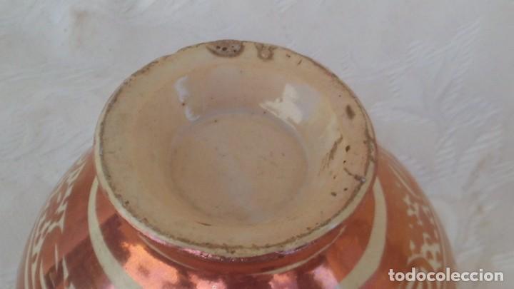 Antigüedades: bote en ceramica de reflejo siglo xviii-xix manises - Foto 4 - 171703504