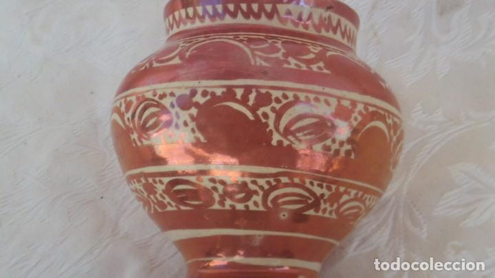 Antigüedades: bote en ceramica de reflejo siglo xviii-xix manises - Foto 5 - 171703504