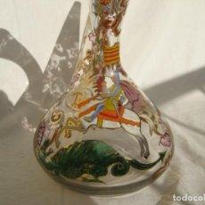 Antigüedades: ANTIGUO PORRÓN EN CRISTAL SOPLADO Y PINTADO RIERA. Lote 171715463