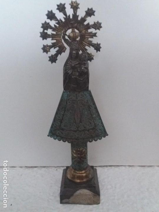 VIRGEN PILAR. PLATA DE LEY. 23CM CINCELADA. 1820. (Antigüedades - Religiosas - Orfebrería Antigua)