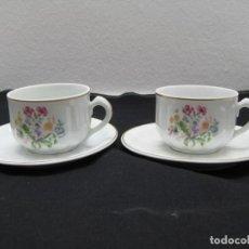 Antigüedades: PAREJA DE TAZAS DE CAFE CON SUS PLATOS,SANTA CLARA.. Lote 171727399