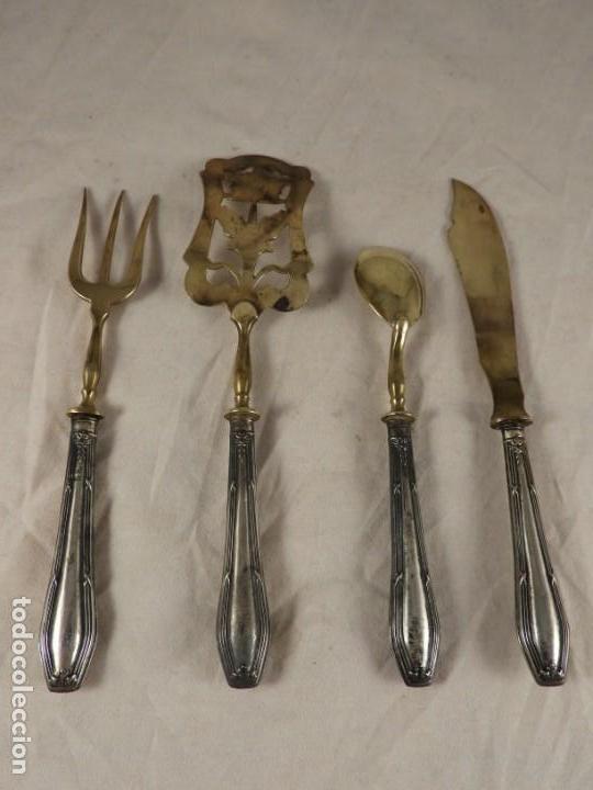 Antigüedades: CUBIERTOS ANTIGUOS DE PLATA DE COCTEL O APERITIVO - Foto 4 - 171750289