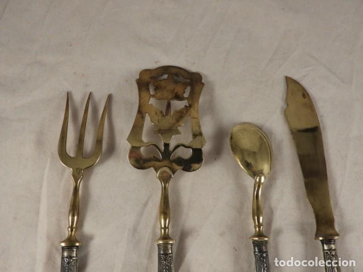 Antigüedades: CUBIERTOS ANTIGUOS DE PLATA DE COCTEL O APERITIVO - Foto 5 - 171750289