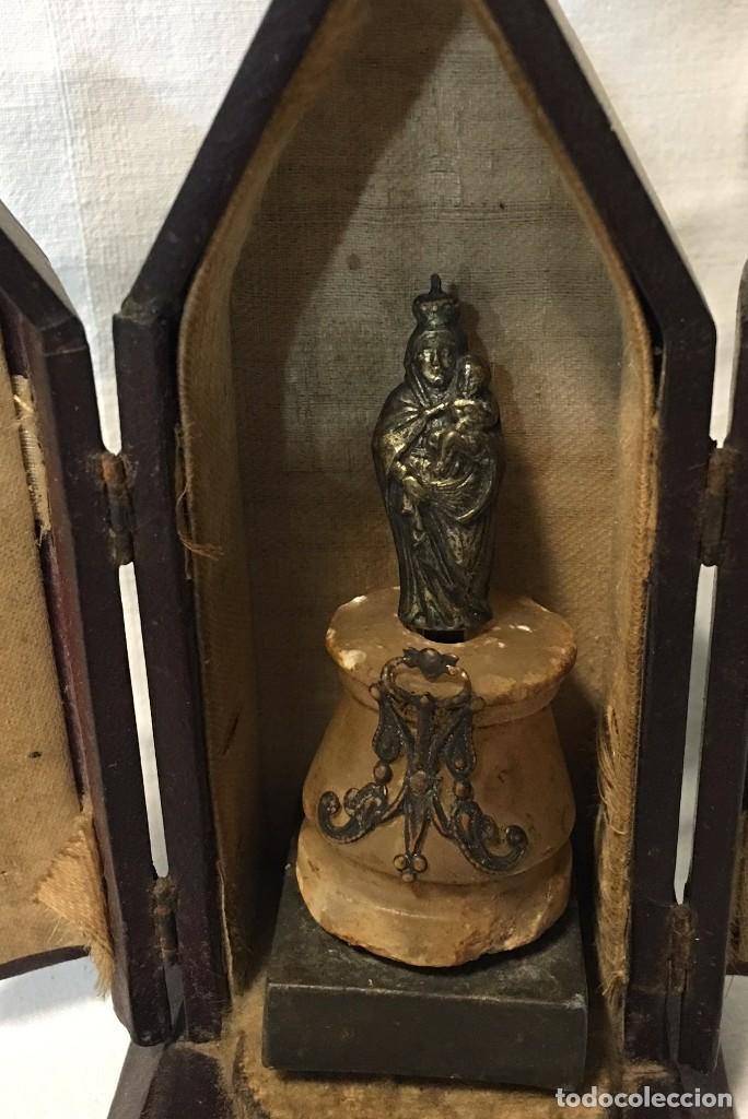 Antigüedades: Capilla portátil Relicario o Custodia de la Virgen María con el niño - 1900 - Foto 3 - 171750504