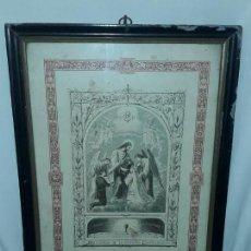 Antigüedades: MUY ANTIGUO Y ÚNICO RECORDATORIO DE PRIMERA COMUNIÓN ENMARCADO AÑO 1894 COLOMA FORN. Lote 171776520