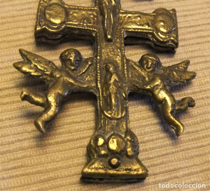 Antigüedades: ANTIGUA CRUZ DE CARAVACA DE BRONCE S.XVIII - Foto 4 - 171783093