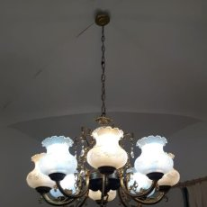Antigüedades: LAMPARA TECHO ANTIGUA GRANDE ARAÑA CON TULIPAS CRISTAL. Lote 171784720